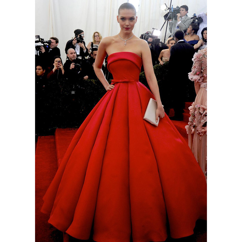 Arizona Muse Red Carpet Celebrity Dresses Strapless Elegant Met Gala Celebrity Dresses Tapetes De Quarto Gowns Ball Gown Formal(China)