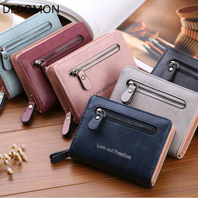 Fashion Short Wallet Women PU leather Female Solid Money Wallet Casual Coin Purse Card Holder Girls Clutch Zipper bag Carteira