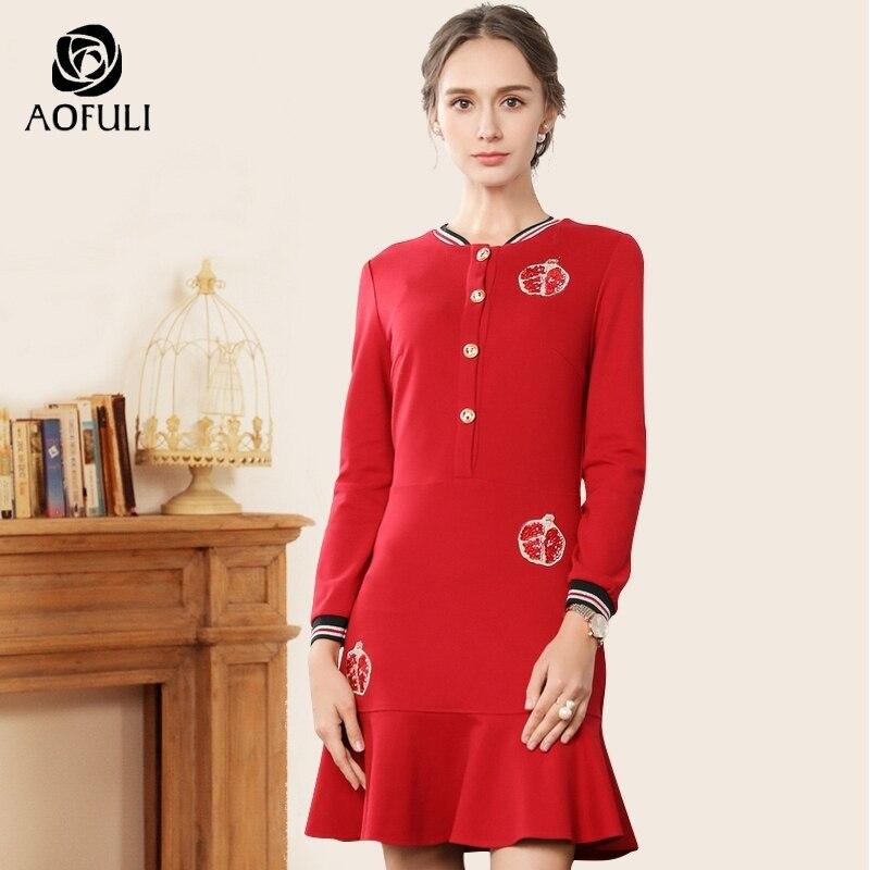 AOFULI sport styl haftowane syrenka suknie sukienka duży rozmiar kobiety odzież w paski i przyciski z długim rękawem sukienka M ~ 3XL 4XL 5XL A3828 w Suknie od Odzież damska na  Grupa 1