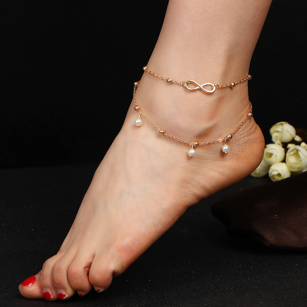 Anklets Infinity Beads Tassel Gold Silver Color Ankle Bracelet Leg  Simulated Pearl For Women Sandals Barefoot