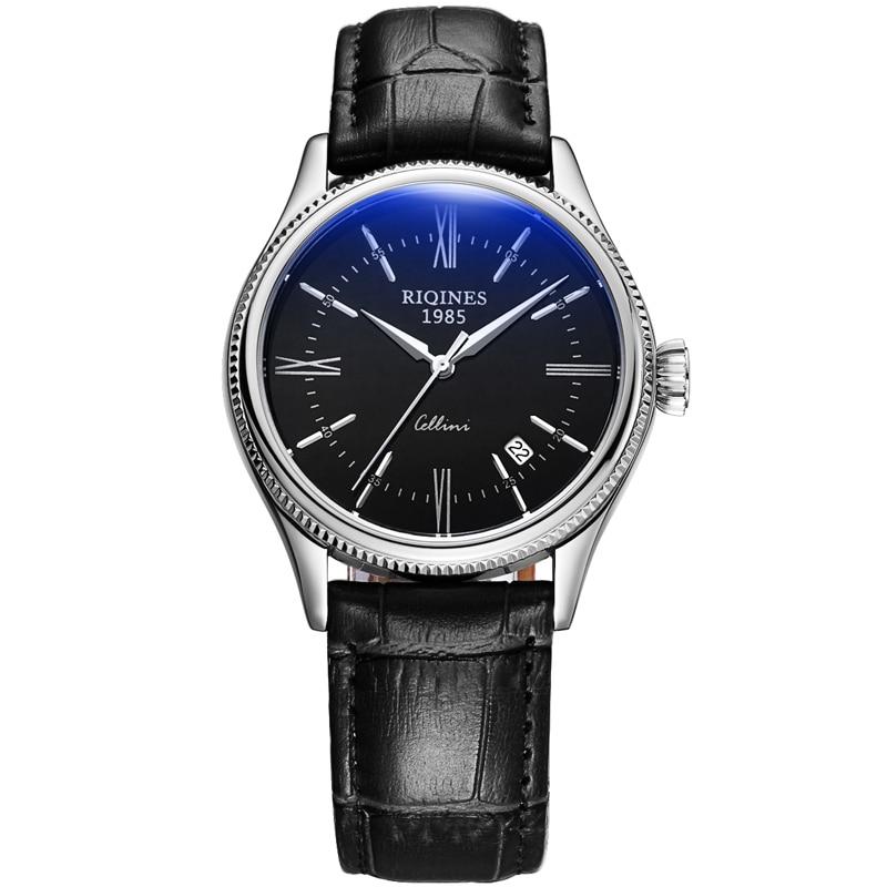 RIQINES cellini watch automatic mechanical watch male watch leather calendar waterproof Classic luxury luxury male black watch все цены
