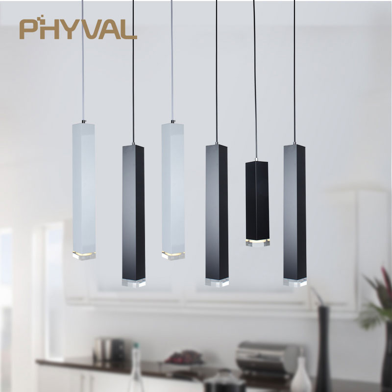 все цены на led Pendant Lamp dimmable Lights Kitchen Island Dining Room Shop Bar Counter Decoration Cylinder Pipe Pendant Lights онлайн