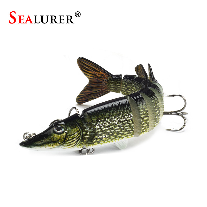 SEALURER 9 Segement Artificial Pike Fishing Lures 12.5cm 20g Isca Muskie Pesca Hard Bait Swimbait Crankbait Fishing Tackle стоимость