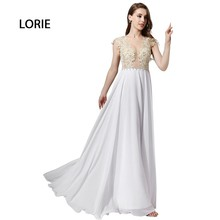 LORIE New White Night Gown Lengthy 2017 Applique Lace Chiffon Particular Event Promenade Gown Free Transport vestido de festa longo