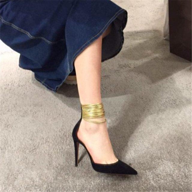 2017 Nuevo otoño moda correa atractiva del tobillo talón fino de las mujeres bombas flock punta estrecha shallow tacón alto atractivos del partido causal zapatos
