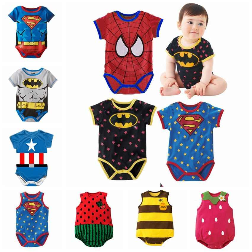 2018 Summer Newborn Baby Girl Clothes Cartoon Baby Boy Rompers Spiderman Batman Unisex Baby Rompers Cartoon Animal Clothing Set