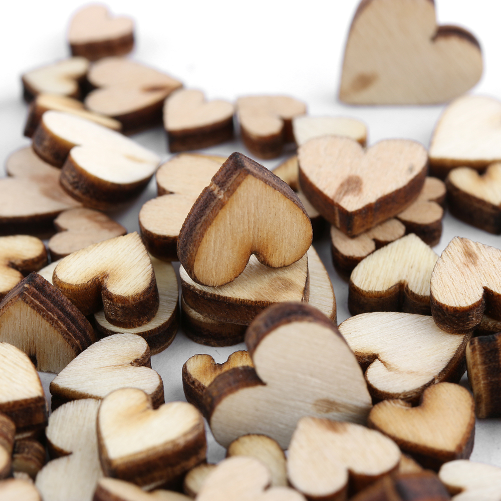 100Pcs/Pack Cute 4 Sizes 6/8/10/12mm Mixed Love Heart Shape Wedding Table Scatter Decor Rustic Wooden Wedding Decoration Buttons(China)