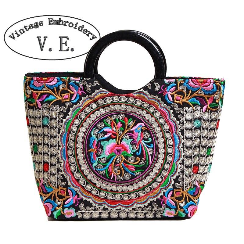 Vintage Embroidery Womens Handbag Retrao Canvas Flower Embroidered Boho Women Totes Bolsas Feminina Designer Women Shoulder Bag