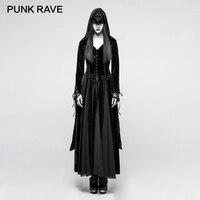 Панк RAVE Готический вышивка широкий рукав Для женщин длинные черные бархатные пальто Хэллоуин вечерние Темная Богиня бинты куртки шерсть