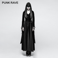 PUNK RAVE Gothic Embroidery Wide Sleeve Women Long Black Velvet Coats Halloween Party Dark Goddess Bandage Jackets Wool Blends
