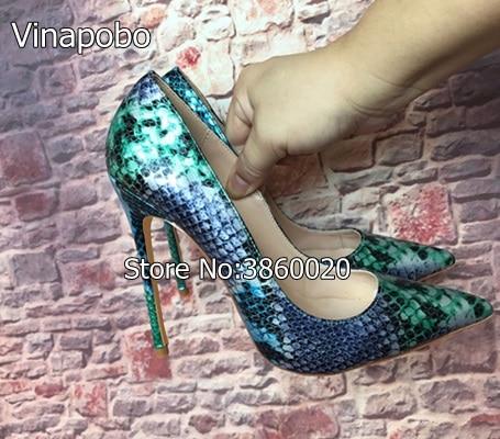 Vinapobo Pointed Toe Women High Heels Platform Pumps Stiletto High Heels Snake Print Ladies Wedding Shoes