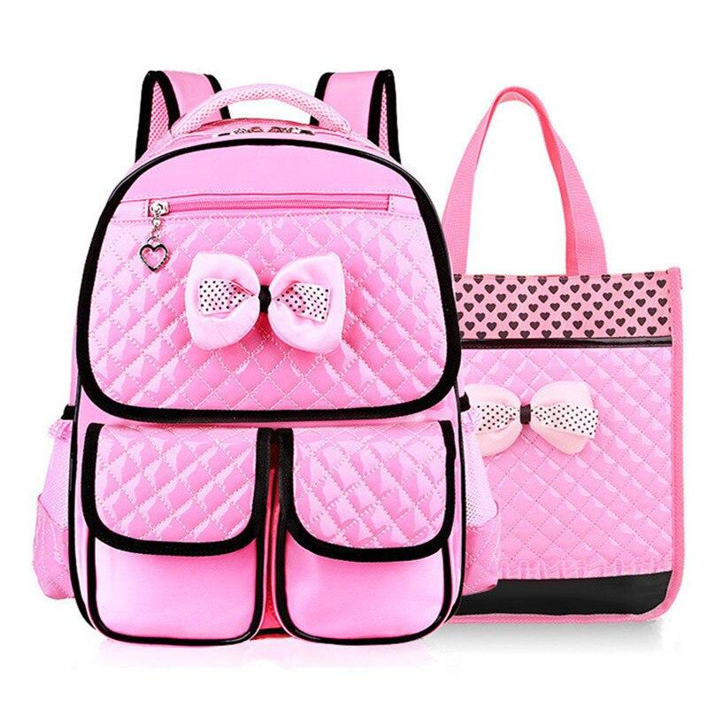 Beautiful Pink Bow Girl School Bag Set High Quality Nylon Waterproof Backpack Cute Girls Schoolbags Satchel Mochila Escolar