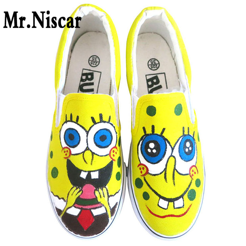 ФОТО Low Top Slip-On Breathable Flat Shoe Cartoon Spongebob Boys Hand Painted Canvas Shoes Men Casual Shoes