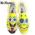 Top Slip-On Transpirable Zapato Plano de Dibujos Animados Bob Esponja Niños Mano Pintado Zapatos de Lona de Los Hombres Ocasionales
