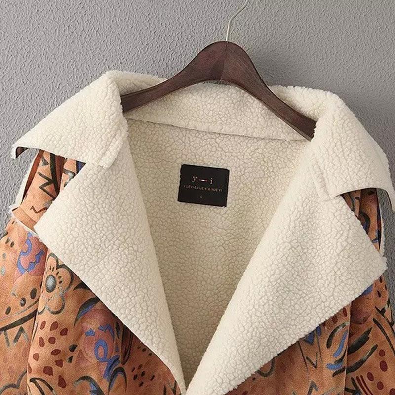 Casual Nouveau Lb2585 Automne Mode Vintage Khaki Revers Sur Hiver Lâche Daim Manteau Imprimer beige Européenne 2016 En Laine Femmes 5YxASp