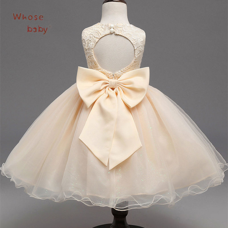 Party Girls Dresses Halter Lace Tutu Prom Dress For Girl With Bow Evening Wedding Baby Kids Clothes Children Bridesmaid Costumes