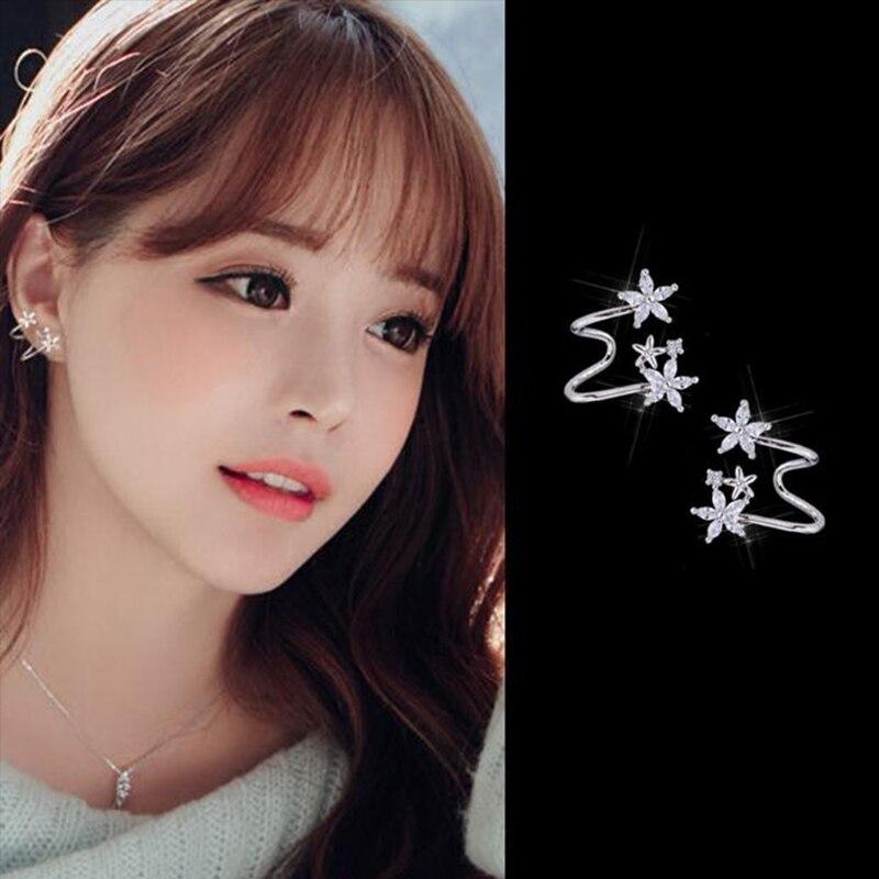 Fashion Cubic Zirconia Flower Stud Earrings For Women Rose Gold Silver Color Earrings Cuff Earrings Birthday Jewelry Gift