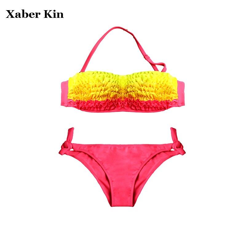 4-12 שנים ילדי בגדי ים Falbala תינוק בגד ים ילדה Biquini Infantil Menina קיץ חמוד חוף ללבוש בנות בגד ים G1-SW617