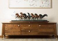 Топ мастер art collection 2018 домашний офис ROOM Decor 130 см Огромный 8 прекрасных лошадей искусство Бронзовая Статуя Скульптура украшения