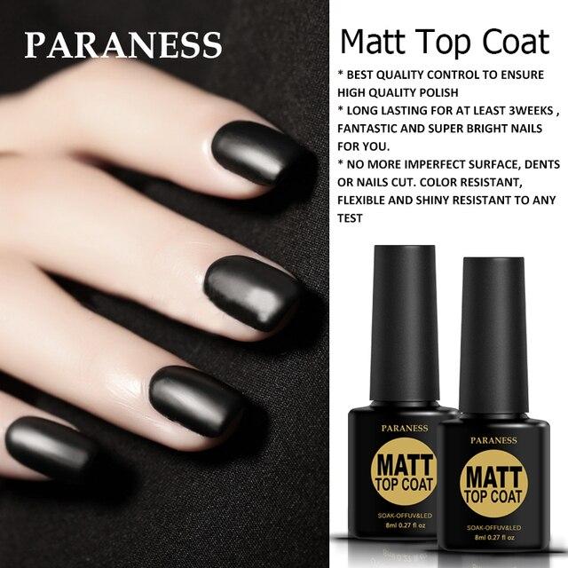 Paraness 8ml Clear Color Primer Soak Off Matt Top Coat UV LED Nail ...