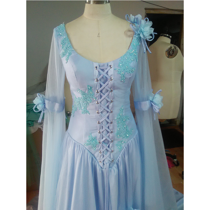 Vintage Celtic Wedding Dress White and Pale Blue Colorful Medieval ...