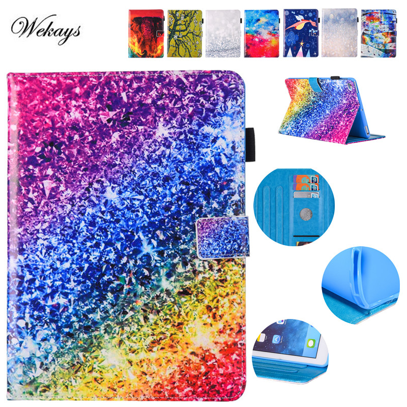 Wekays Fashion Cartoon Case For Apple iPad Air 2 case For iPad 6 Air2 Rainbow Case Cover Funda Tablet PU Leather Stand Shell painting cute cartoon funda for ipad 2 3 4 5 6 case pu leather translucent back cover for ipad air 2 air2 case stylus pen