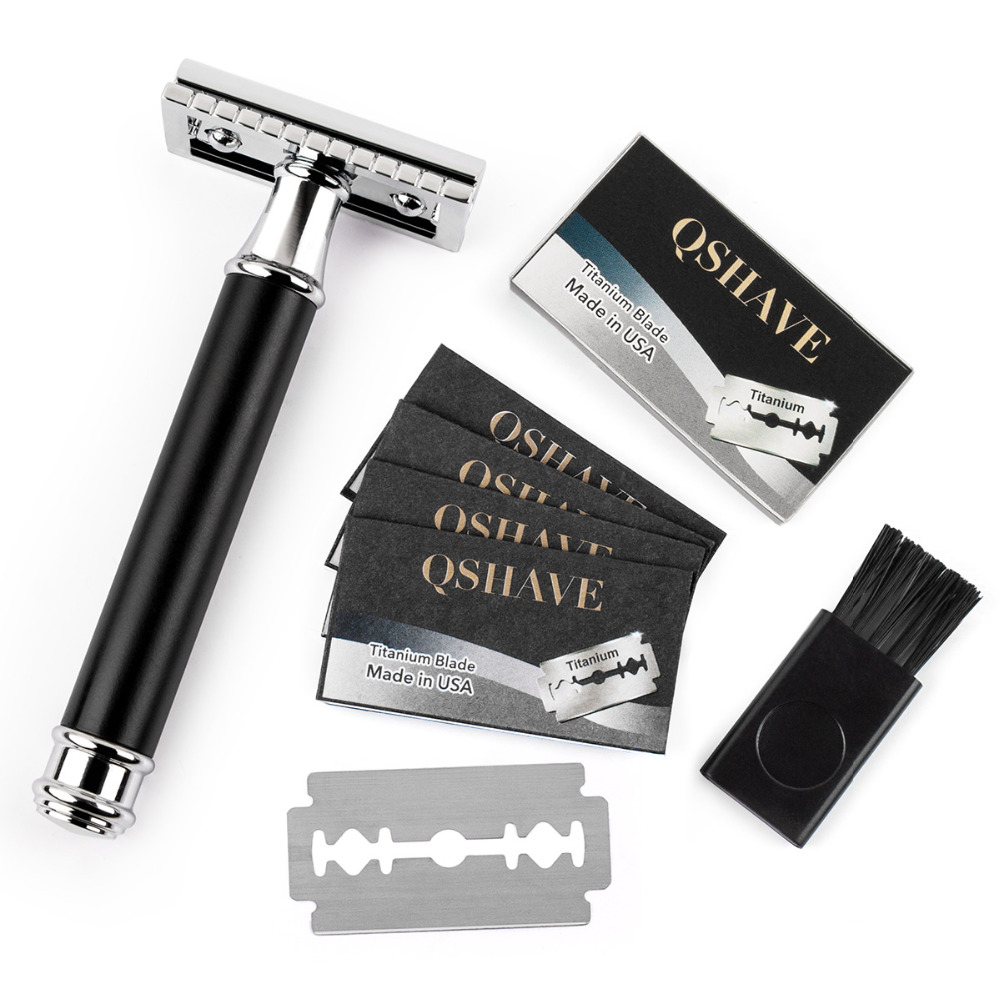 Qshave Men Manual Shaving Razor Classic Safety Razor Black Handle Double Edge Blade Stainless Steel Metal with 5 blades as gift 5