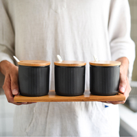 Ceramic Seasoning Pot Salt Sugar Spice Pepper Storage Jar with Bamboo Cover Lid Tray 3 Condiment Pots with Spoons