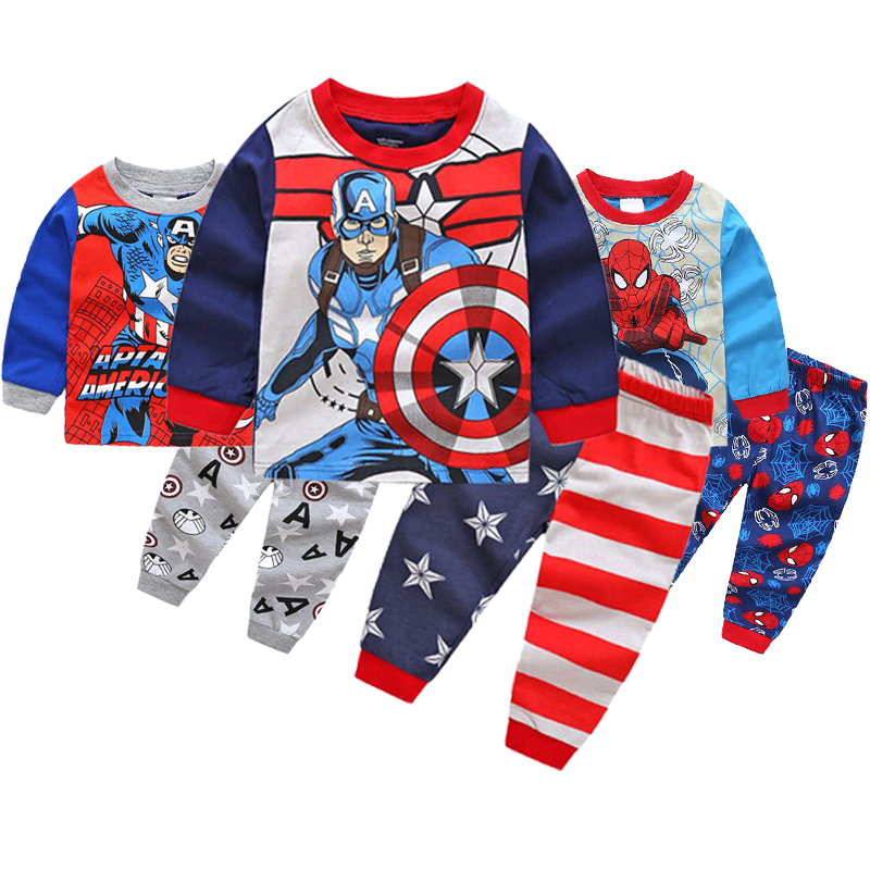 Pajamas-Sets Homewear Marvel Captain-America Hero Boys Children Casual Suit Movie