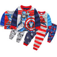 Jungen Pyjamas Sets Marvel Film Hero Captain America Mädchen Pyjamas Kleidung Set Kinder Casual Nachtwäsche Anzug Nachtwäsche Homewear