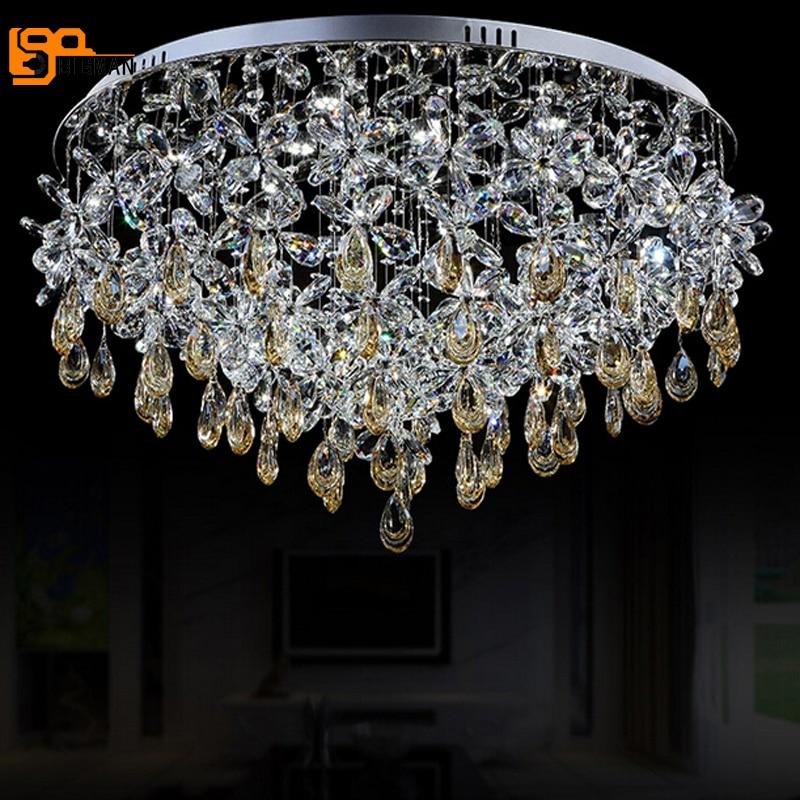 Neu Flush Mount Crystal Moderne Kronleuchter Wohnzimmer Kristall Leuchten Runde Quadratische LED Lampe