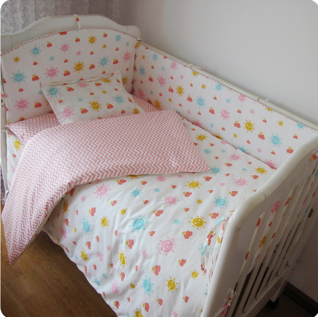 Promotion! 9PCS Whole Set Pink Baby bedding Children Bed Bedding Around Set 100% Cotton Crib Sets,4bumper/sheet/pillow/duvet