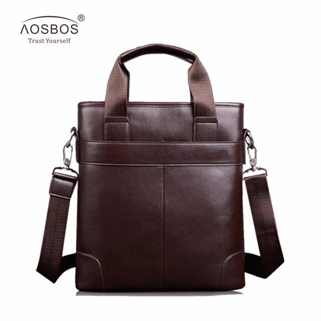 9629b94681 Aosbos PU Leather Men Handbags Male fashion Business Messenger Bag Solid  laptop Shoulder Bag for Males