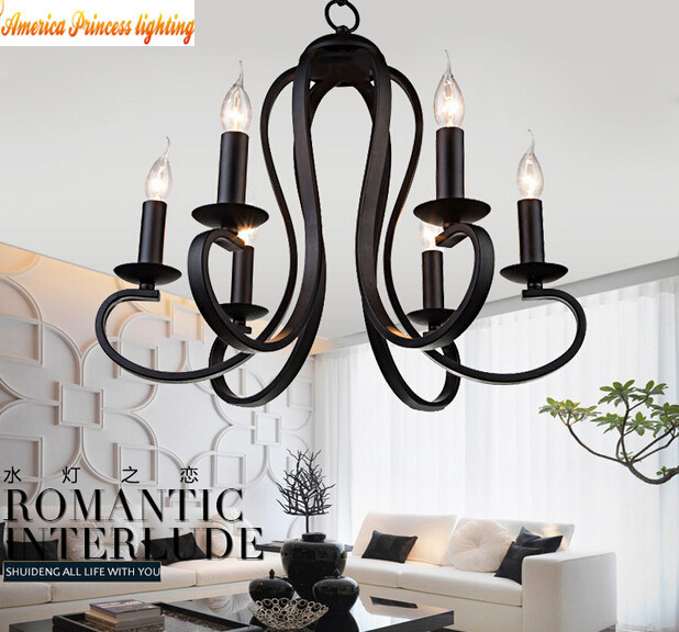 American Mediterranean wrought iron chandelier candle lamp living room bedroom restaurant light, material: iron, E14, AC110-240V free shipping candle lamp wrought iron restaurant bedroom chandeliers rural white candle wrought iron pendant led lights