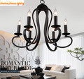 American Mediterranean wrought iron chandelier candle lamp living room bedroom restaurant light, material: iron, E14, AC110-240V