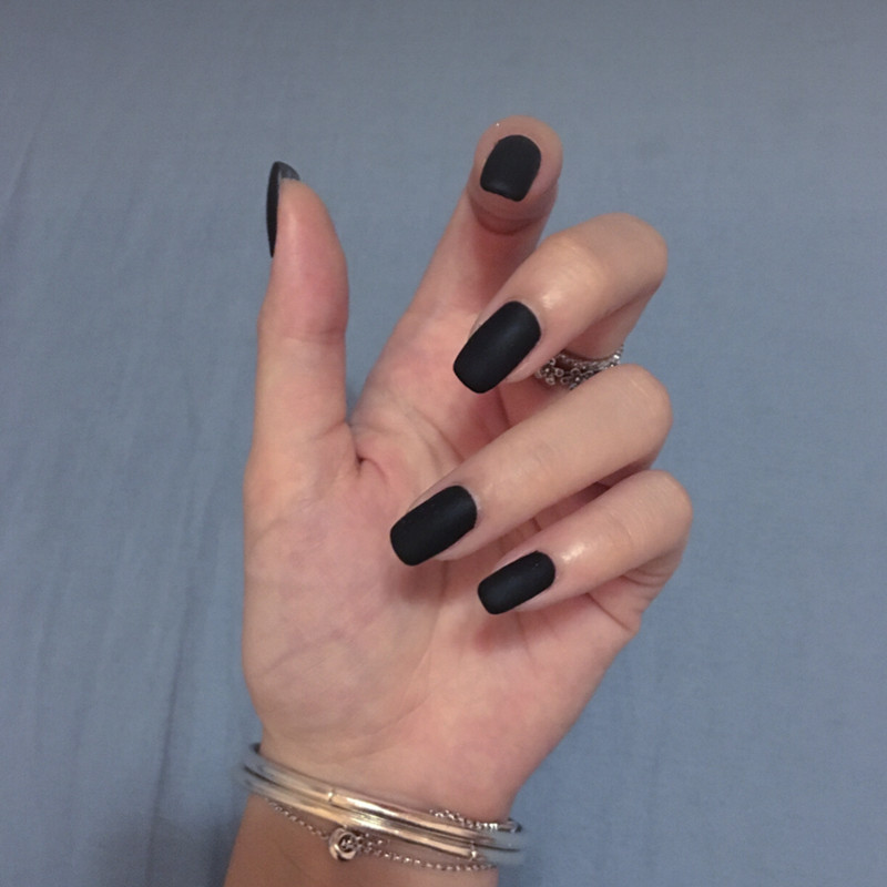 American punk style Matte black pure color false nails 24pcs french ...