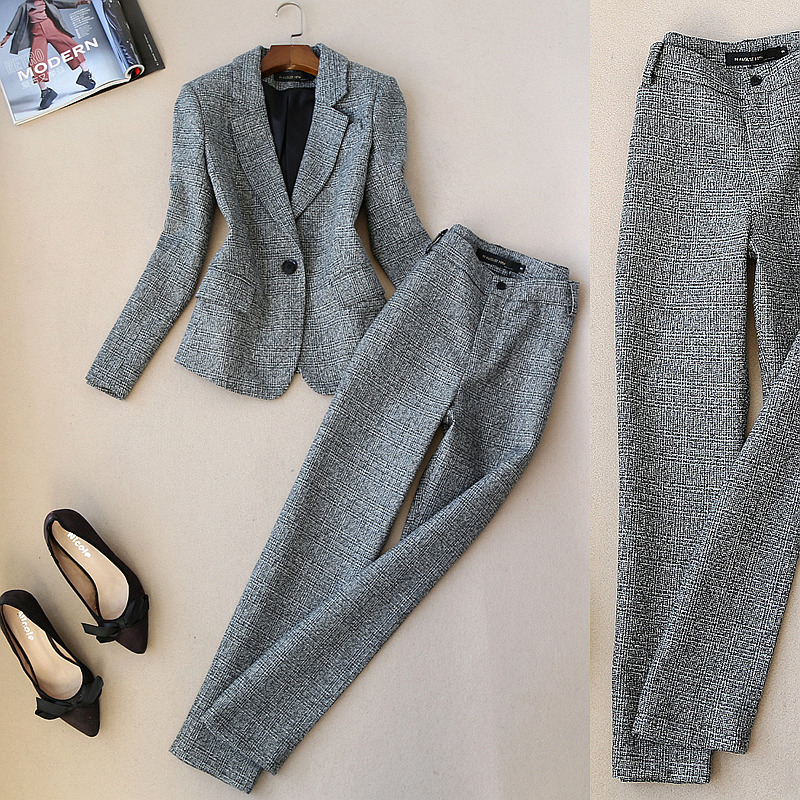 Fashion suit female early spring new professional practice British style imitation woolen suit jacket + wide leg pants two-piece