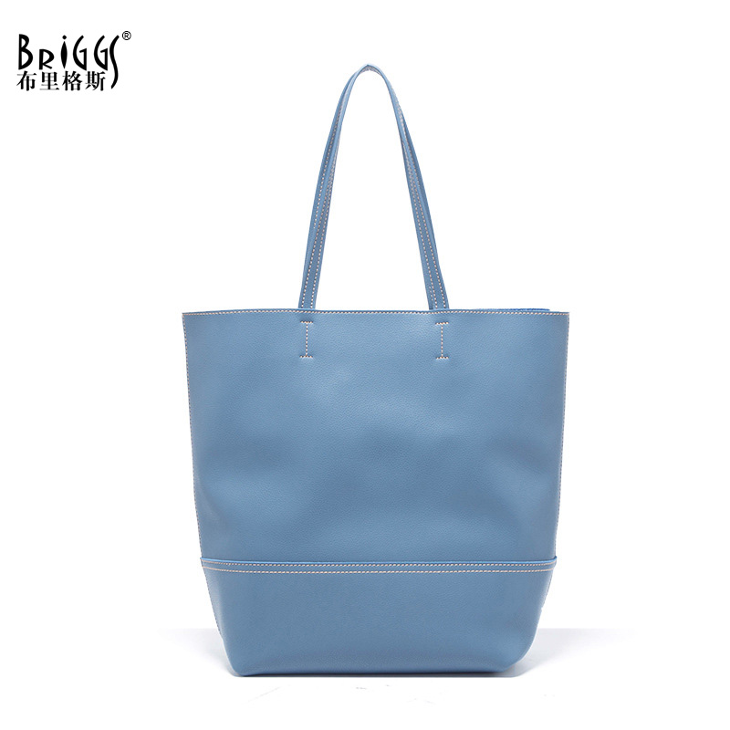 BRIGGS Fashion Genuine Leather Bags For Women Ladies Handbag Large Capacity Shoulder Bag High Quality Cow Leather Tote Bags kajie 2018 high quality brand bags fashion handbag genuine leather women large capacity tote bag big ladies shoulder bags