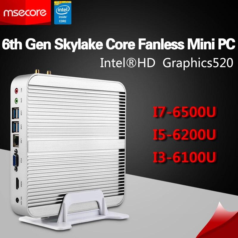 Msecore i3 6100U i5 6200U i7 6500U Fanless Mini PC Windows 10 Desktop Computer Nettop NU ...
