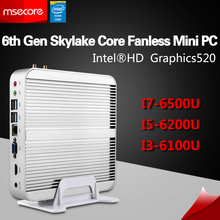 Msecore i3 6100U i5 6200U i7 6500U Fanless Mini PC Windows 10 Desktop Computer Nettop NUC Skylake HD520 Graphics 4K 300M WiFi
