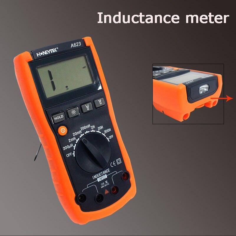 De poche portable rétro-éclairage affichage numérique inductance mètre de Haute précision inductance multimètre testeur Triode test