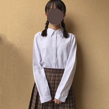 japanese high school uniform Pointed collar / square collar long-sleeved solid white T shirt for Anime cosplay недорого
