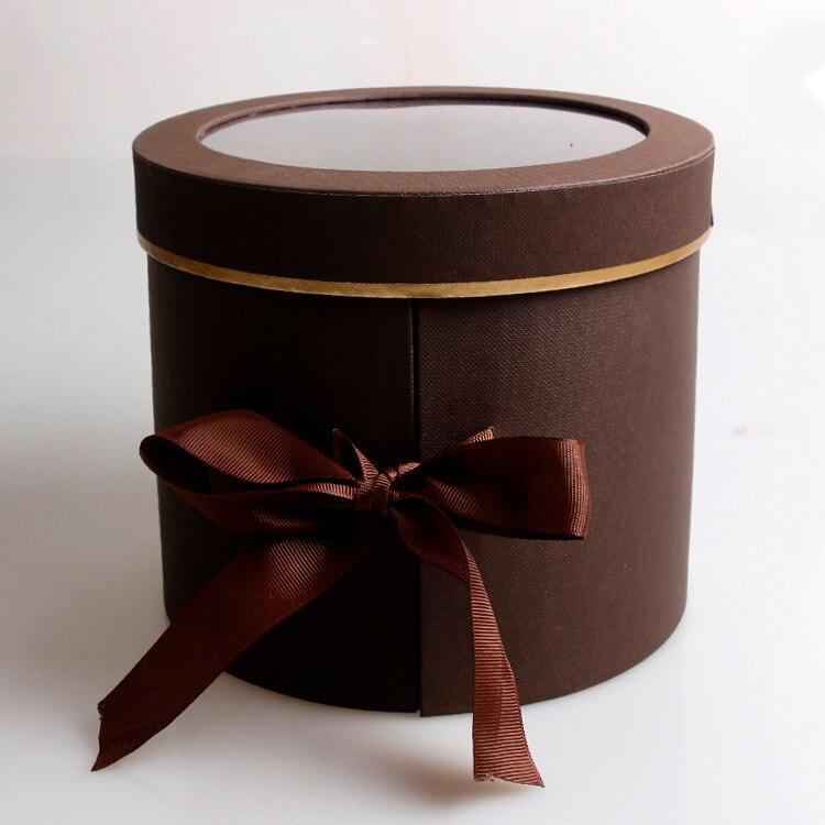 Двухслойные круглые бумажные коробки для цветов с лентой букет роз Подарочная упаковка картонная коробка День Святого Валентина свадебные украшения - Цвет: coffee