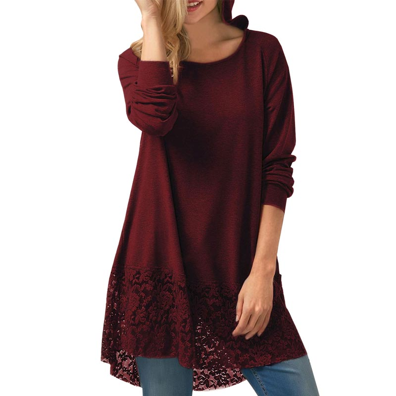 Fashion ZANZEA Women Hoodies Long Sleeve Lace Crochet Patchwork Solid Long Pullover Loose Work Shirt Hooded <font><b>Blouse</b></font> Plus Size