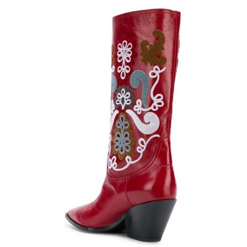 Última 2018 Altas E Mujer Negro De Sexy rojo Invierno Zapatos Tacón Flor Otoño Botas Rodilla Mujeres Bordado Punta 4qddxXr