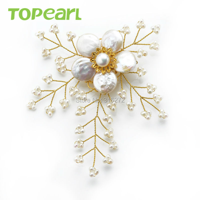 Topearl Jewelry FPB006 White Freshwater Pearl Brooch Hand Wired ...