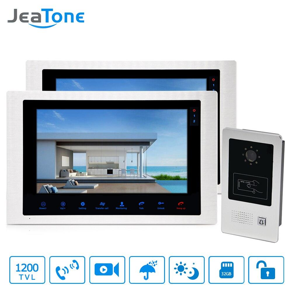 4-Wired Video Door Phone Home Video Intercom Doorbell 10'' Monitor Intercom Outdoor Wide View Angle Call Panel + RFID Card 1-2