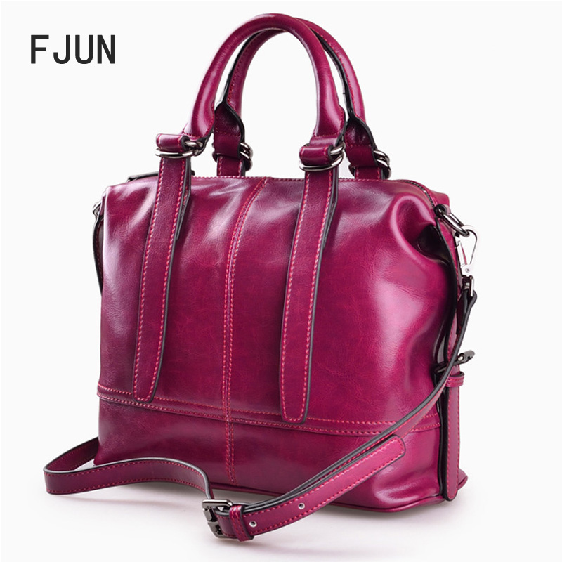 17434b2ae74b FJUN 2018 New Genuine Leather bag women bag Messenger bag Female Fashion  high quality Free shipping