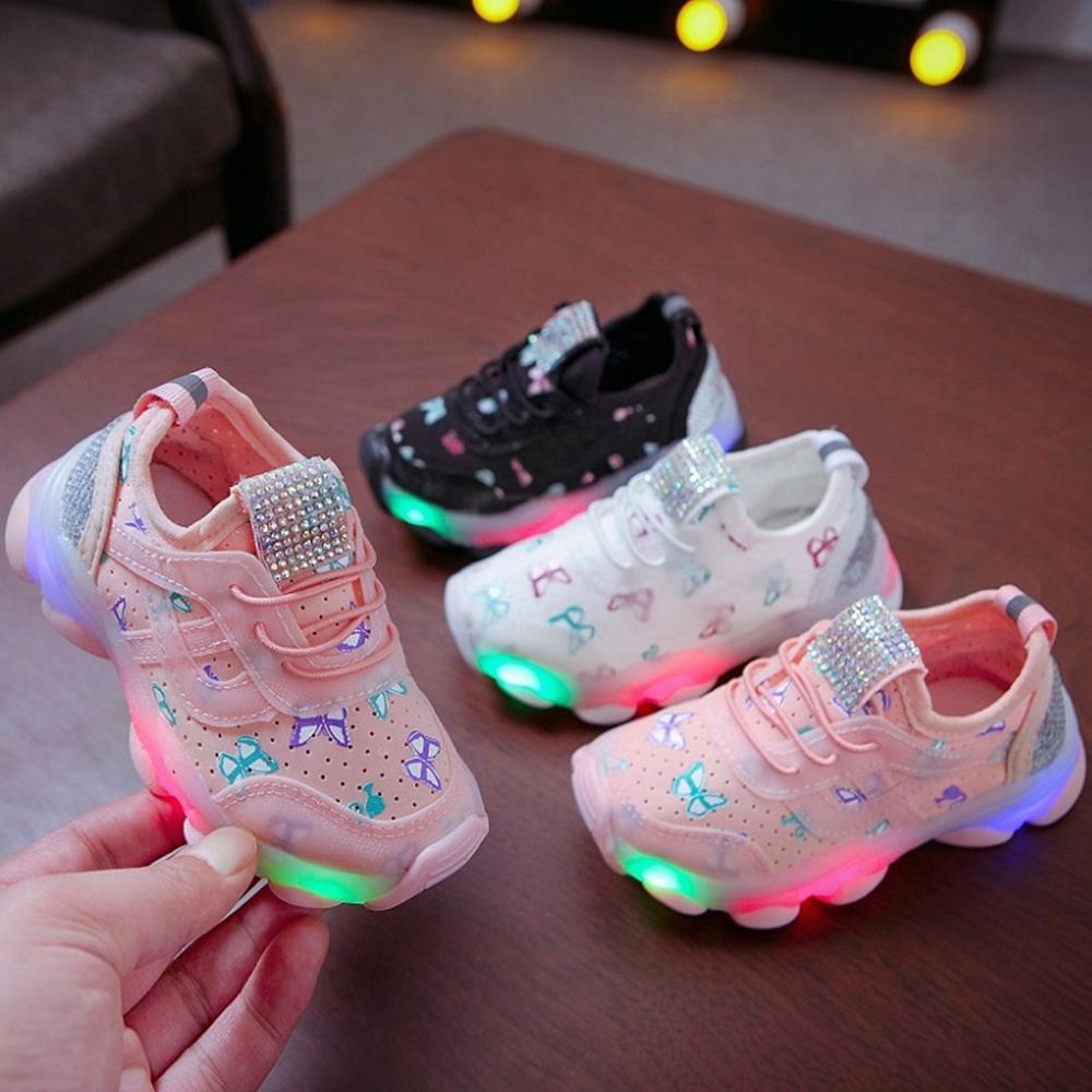 Bebek Ayakkabı Children's Girls Butterfly Rhinestone Mesh Breathable Led Luminous Running Shoes Bright Shoes A1