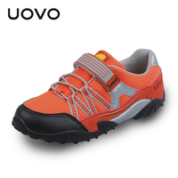 UOVO 2015 Spring And Autumn Kids Shoes Elastic Hook And Loop Children Sport Shoes Mesh Breathable